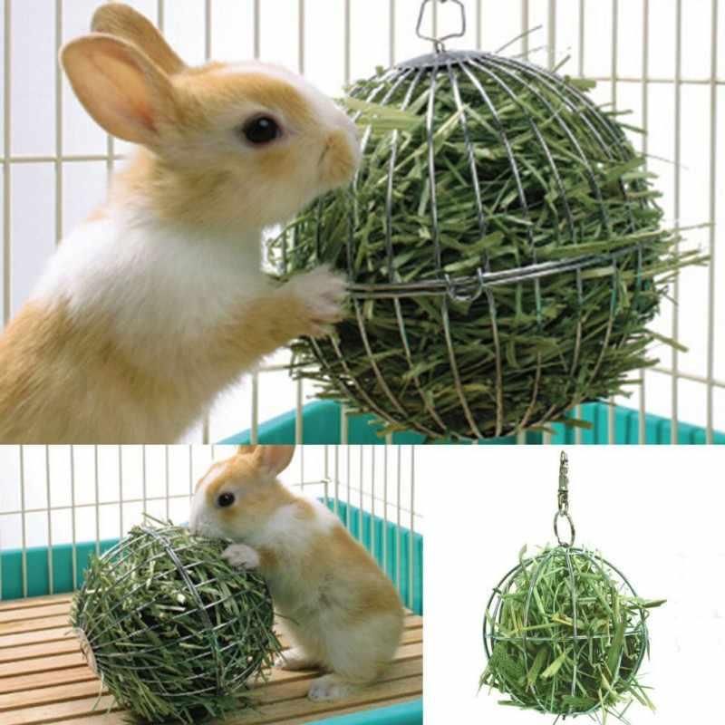 Hay Hình Dạng Bóng Cỏ Ăn Công Cụ Thực Phẩm Thép Không Gỉ Xi Mạ Giá Đỡ Bóng Cho Thỏ Chuột Lang Thú Cưng Lồng Hamster Treo trang trí