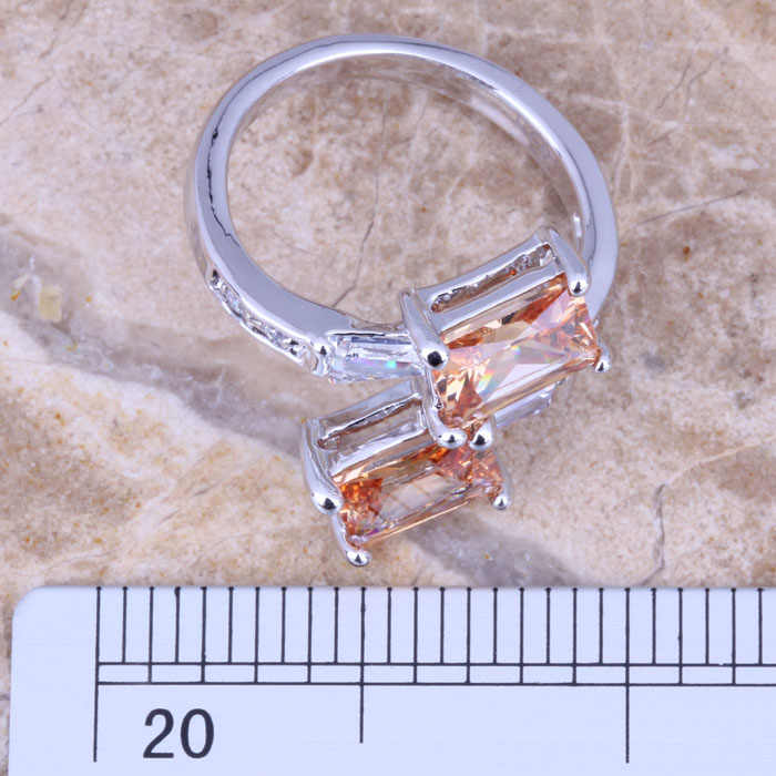 Enchanting Champagne MorganiteสีขาวCZเงินผู้หญิงเครื่องประดับแหวนขนาด 5 / 6 / 7 / 8 / 9 R0767