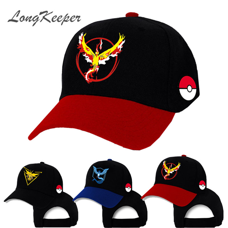 LongKeeper Pokemon Go Cap Hat Team Valor Team Mystic Team Instinct Pokemon Cap Pokemon Go Team Baseball Cap Hat свитшот print bar pokemon go instinct team