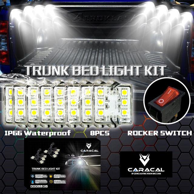 caracal 8 pc ramassage camion lit boite de travail waterproff blanc led eclairage accessoires