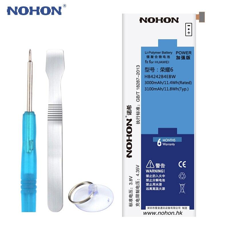 Оригинальный NOHON Батарея HB4242B4EBW для huawei Honor 6 4X 7i H60-L02 H60-L04 Che2-L11 Shot X 3100 мАч Li-Ion Bateria бесплатная инструменты