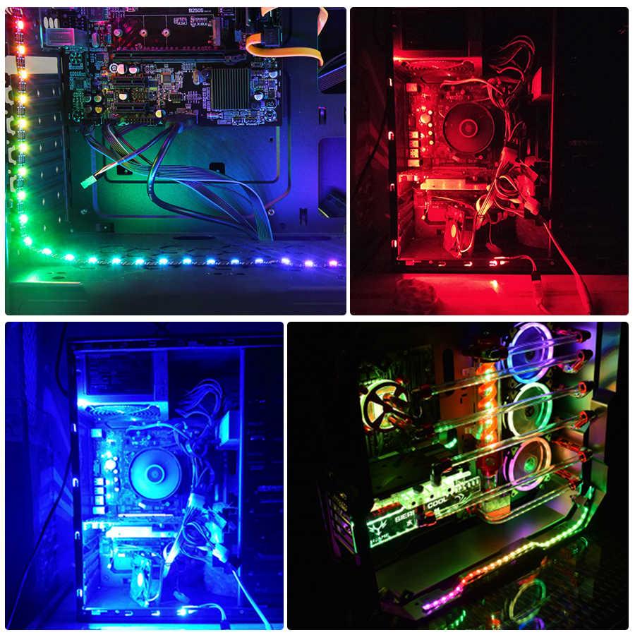 Foxanon interfejs zasilania SATA RGB taśmy LED światła 1 m 2 m 3 m 4 m 5 m DC 12 V 5050 2835 diody pełny zestaw dla PC obudowa komputera
