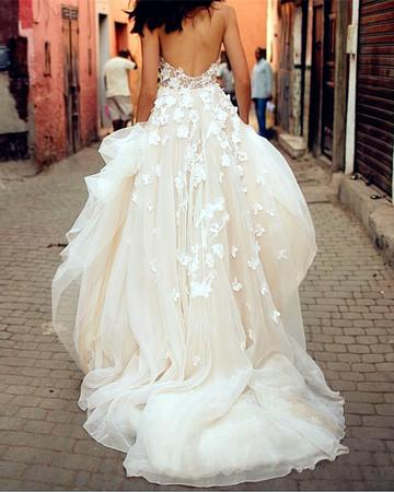 Vintage Boho Wedding Dress With Flower Floral Sweetheart Country Street Photograph Beach Wedding Gowns A Line Plus Size Bride