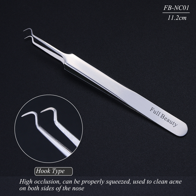 1pc Stainless Steel Blackhead Tweezers Eyelash Extension Curved Acne Clip Removal Eyebrow Tweezer Face Care Tools CHFBNC01-04 5