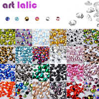 Nail Art strass 300 pièces mélanger SS4-SS16 taille verre Flatback cristal Non Hotfix ongles strass pour ongles Art 3D décorations