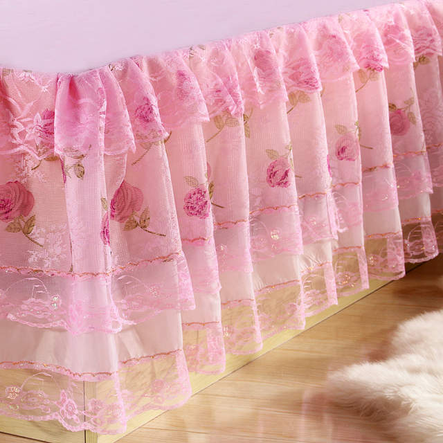 Pink Bed Skirt Queen.Polyester 1pc Pink Bed Skirt Lace Princess Bedding Bedspreads Skirt Lace Ruffles Bed Skirts Twin Full Queen Size Princess Style