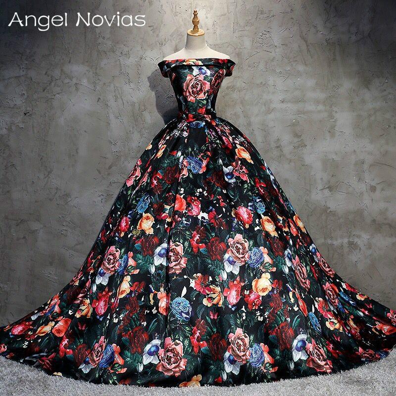 Long Floral Print Ball Gown Evening Dresses 2018 Arabic Kaftan ...