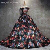 Long Floral Print Ball Gown Evening Dresses 2018 Arabic Kaftan Custom Made Lace Up Vestidos De Novia Dubai Formal Party Gowns