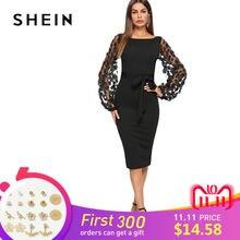 7997539b11e Шеин Черный Вечерние элегантный цветок аппликация контраст с сетчатыми  рукавами облегающие поясом одноцветное платье осень Для ж.