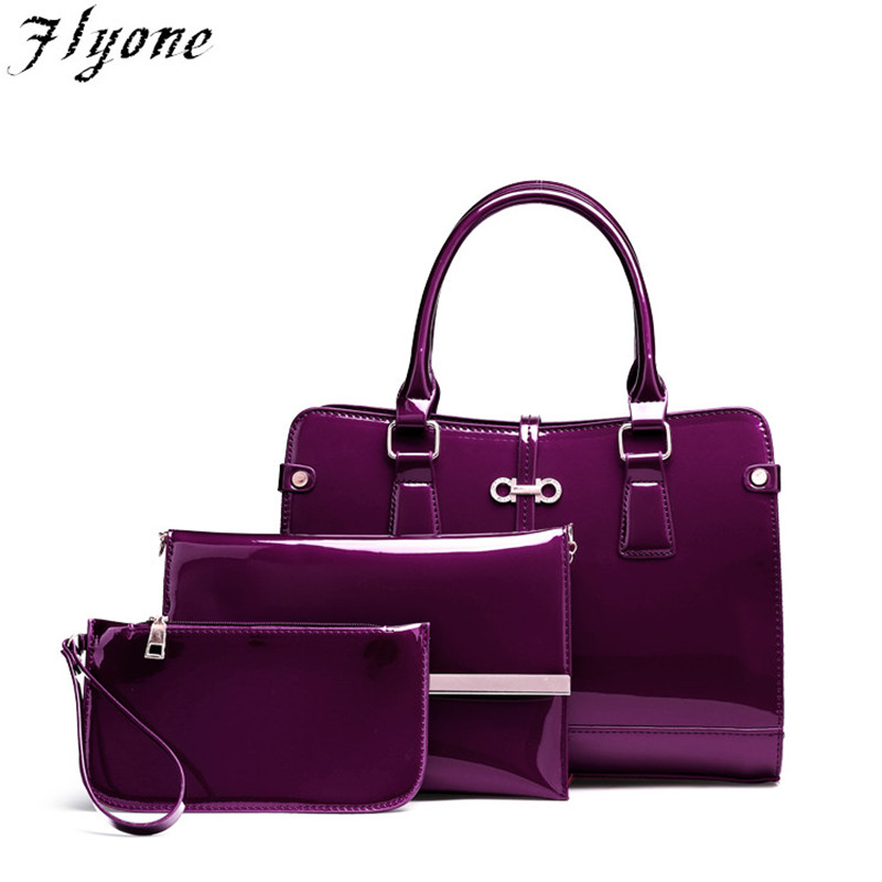 Flyone Luxury Patent Lady Leather Purse and Handbag Women 3 pcs/set Tote bags Brands Female Shoulder Bag Ladies Messenger Bags 3 pcs set vintage handbags women messenger bags female purse solid shoulder bags office lady casual tote new top handle bag