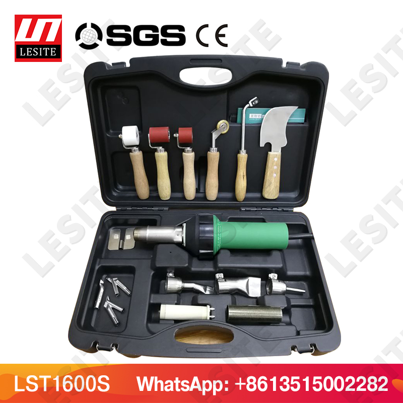 Hot air plastic welding gun kits LESITE LST1600 PP/LDPE/PVC heat gun pistol hot air blower HDPE geomembrane welder for TPO roof new 110v 230v 1600w hot air welding gun torch for pp pe pvc viny plastic welder pistol with 5mm nozzle and heating element