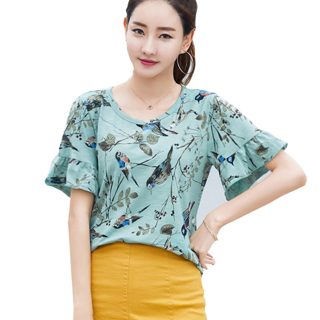 71de3affc3408e Shintimes Chemise Femme Animal Print Summer Tops Blusas Feminina 2017 Cotton  Butterfly Sleeve Short Shirt Women Blouses S5058