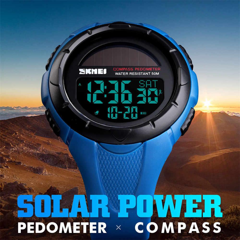 SKMEI, relojes deportivos para hombres al aire libre, relojes de pulsera digitales con energía Solar, reloj resistente al agua, podómetro, caloría, reloj para hombre 1488