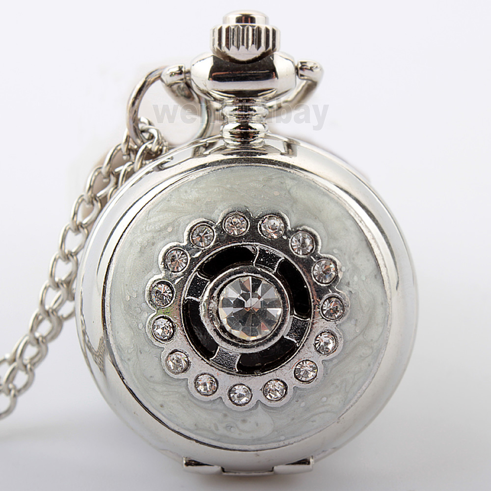 Fashion Silver Crystal Pocket Watch Women Lady Quartz Fob Watches With Necklace Chain Rhinestone Women Lady Girls Child's Clock