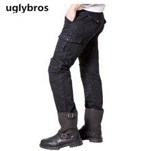 Noir casual uglybros motorpool ubs06 jeans moto pantalon de moto de protection pantalon hommes en plein air tactique pantalon de course pantalon