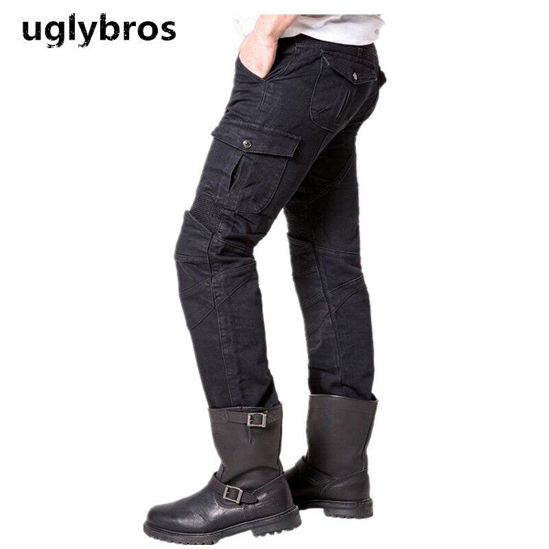 Black Casual Uglybros Motorpool Ubs06 font b Jeans b font Motorcycle Protective Pants font b Men