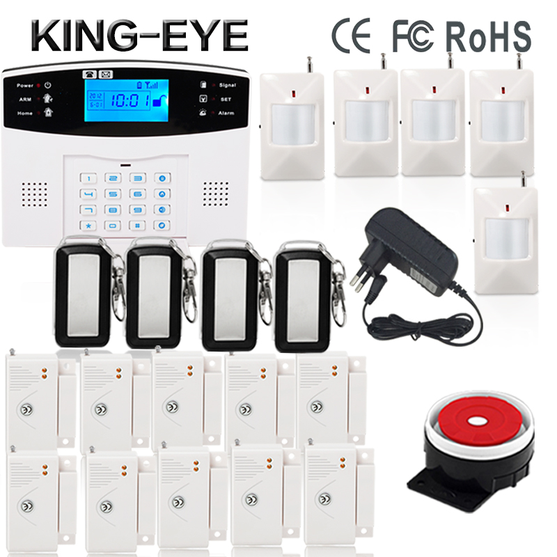 Russian/French/Spanish voice quad band GSM home security alarm system gsm sms intercom Lcd display with door security sensor russian phrase book