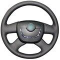 Black Artificial Leather Steering Wheel Cover for Skoda Octavia Superb 2012 Fabia Skoda Octavia a 5 a5 2012 2013 Yeti 2009-2013