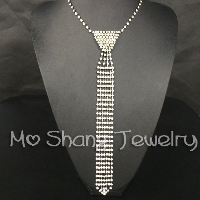 67a2761b6 Mans Tie Vintage Long Rhinestone Necklace Crystal Diamante Rhinestone  Necktie tie Choker Collar Prom Party Valentine's Day Gift