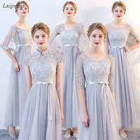 2018 Fashion Slim Wedding Party Dresses Bridesmaids Chiffon Lace Dress Women Summer Long Ball Gown Dress Female vestidos