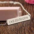Horizontal Personalized nameplate Necklace Men 925 Solid Silver Engraved Necklace with Memorial Date Gift