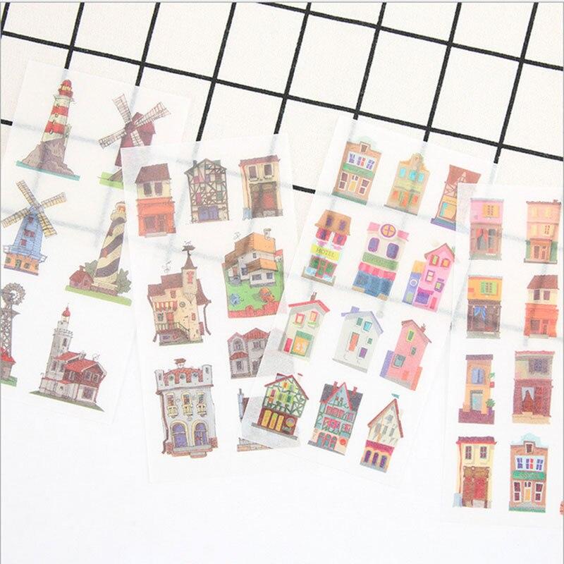 6pcs/lot Cute Dream town Creative pvc sticker child diy toy Photo album Deco sticker scrapbooking seal sticker kawaii stationery