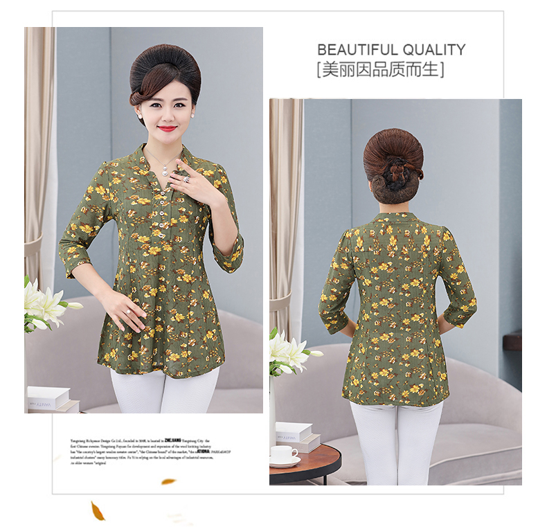 Women Flower Chiffon Blouses Three Quarter Sleeve Crepe Top Woman Peplum Tunic Red Green Print Shirt Plus Size Blouse Lady Shirt Spring (14)