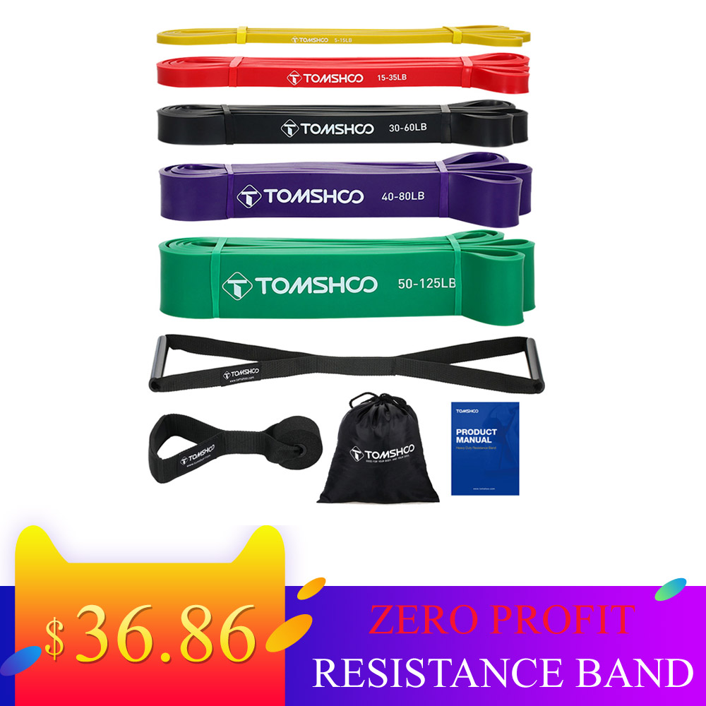 TOMSHOO 5 Packs Pull Up Assist Bands Set Resistance Loop Powerlifting Exercise Stretch with Door Anchor and Handles