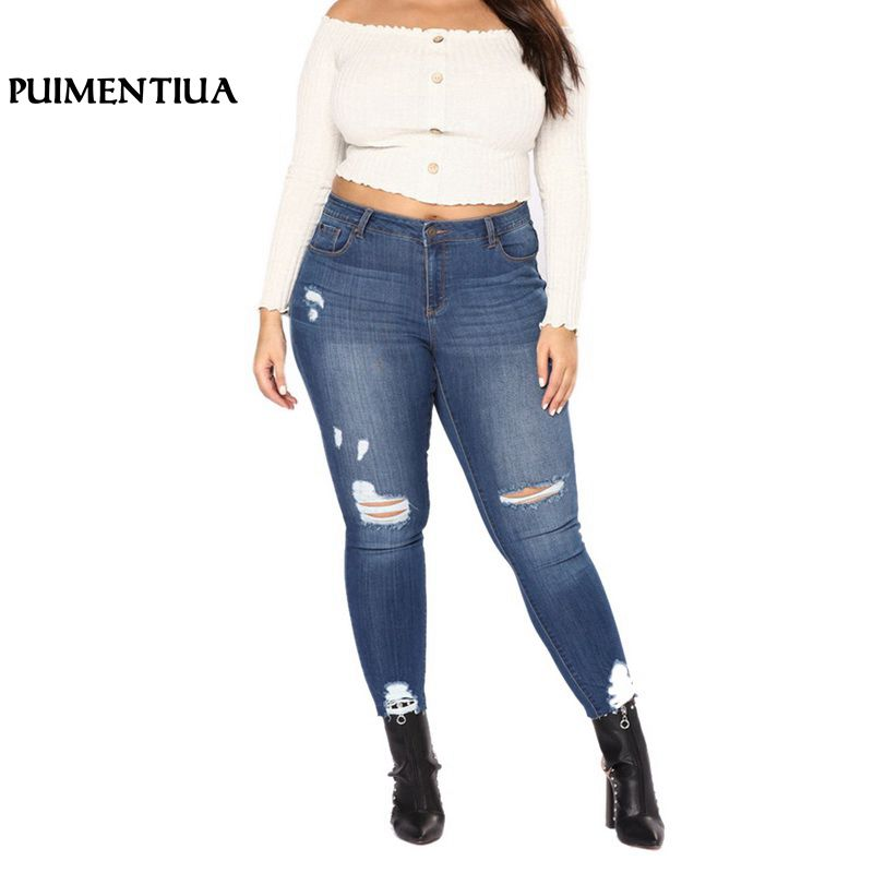 Puimentiua 2018 Skinny Pencil Pants Vintage High Waist Hole Ripped Denim   Jeans   Casual Button Fly Stretch Trousers Large Size 7XL