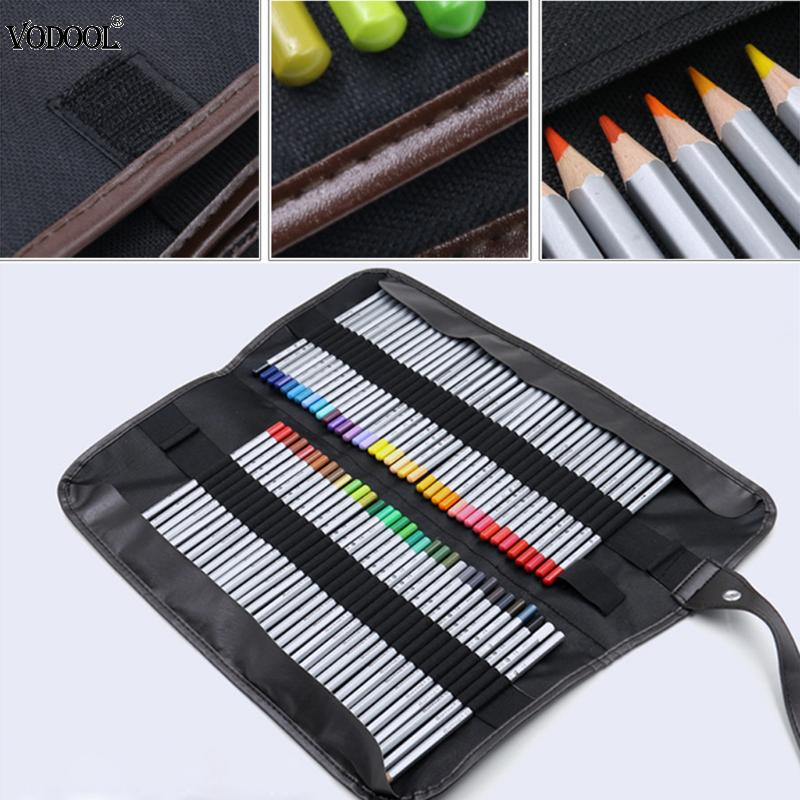 New Fine 72 Holes Student Pencil Pen Bag Cosmetic Case Holder Bag Storage Pouch Canvas Storage Bags big capacity high quality canvas shark double layers pen pencil holder makeup case bag for school student with combination coded lock