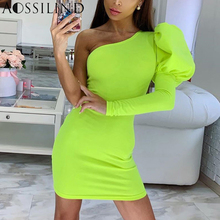 AOSSILIND Neon Yellow Sexy One Shoulder Backless Bodycon Dress Women 2019 Autumn Long Sleeve Skinny Party Club Mini Dresses long sleeve ruffle skinny one shoulder bodysuit