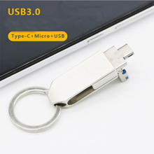 Type C Flash Drive, 3in1 OTG USB Drive (Type-C/Micro USB/USB3.0) Waterproof Memory Stick with Keychain Metal for Computer