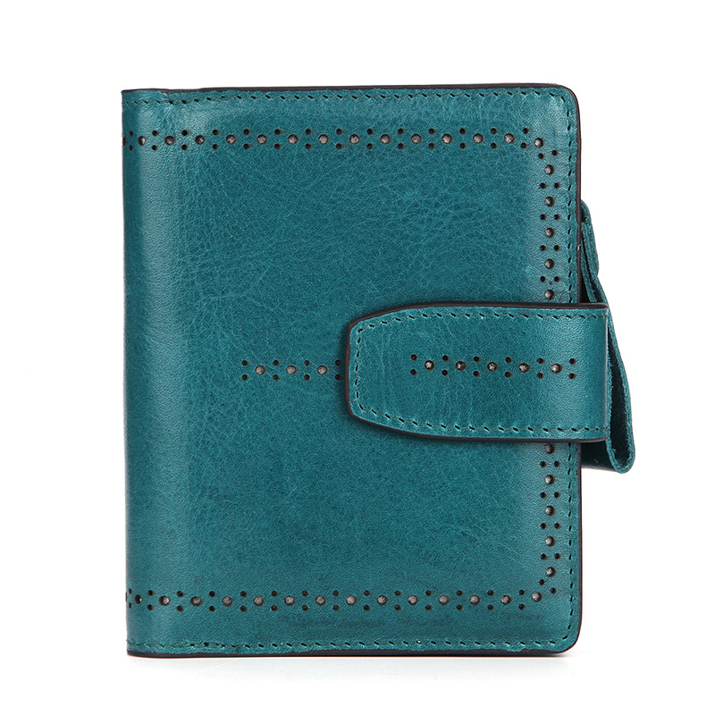 2018 New Vintage Luxury Real Cow Genuine Leather Women Wallets Bifold Women's Wallet Zipper Designer With Coin Purse Pockets
