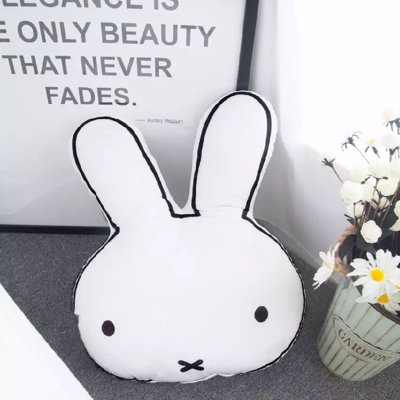 Plush Stuffed Animals Rabbit Face Cushion Pillow Baby Calm Sleep Dolls Toy Kids Bed Room Decor Photo Props Nordic Style
