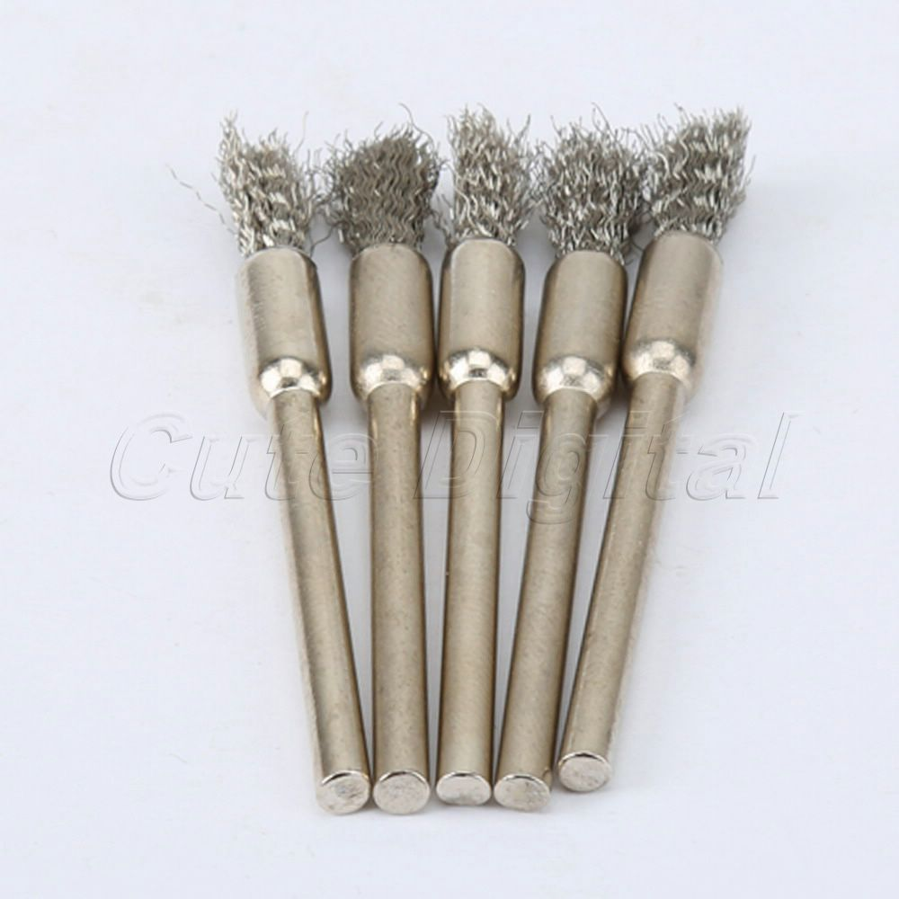 5Pcs 5mm Steel Wire Brushes Polishing Wheel Brush For Rotary Tool Polishing Dremel Brush Dremel Tool Accessories For Mini Drill