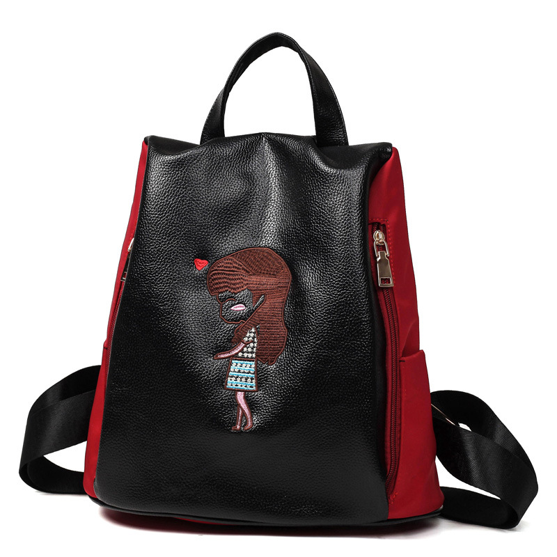 d6a873e58 Cartoon Lovely Girl PU Leather Backpack Fashion Girl Soft Handle  Embroidered Characters Pattern Zipper Bags