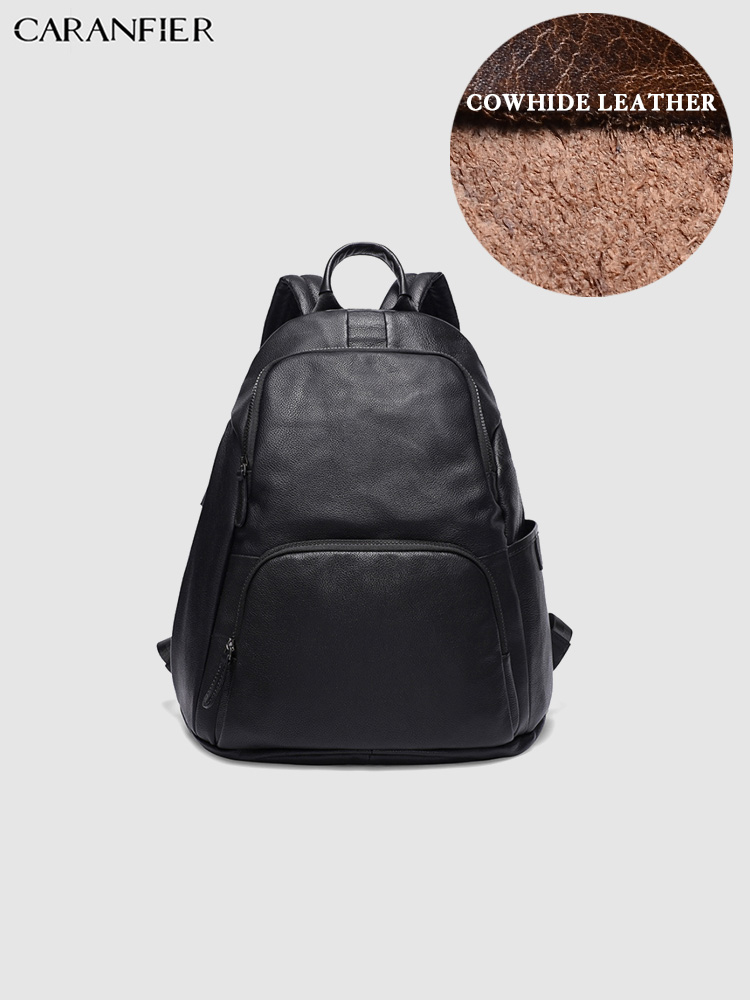 CARANFIER Mens Backpacks Genuine Cowhide Leather Travel Laptop Bags School Bag Large Capacity Rucksack Bookbag Mochila MasculinaCARANFIER Mens Backpacks Genuine Cowhide Leather Travel Laptop Bags School Bag Large Capacity Rucksack Bookbag Mochila Masculina