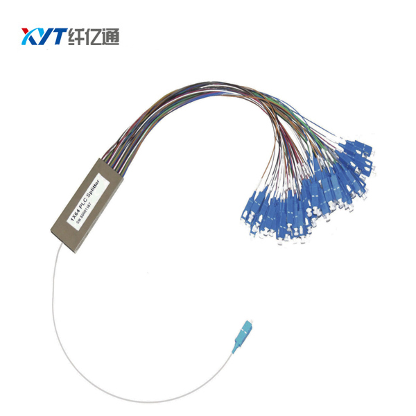 promotion product mini optic splitter Steel tube 1*64 PLC Splitter 1m and 0.9mm loose tube with SC/ UPC connector