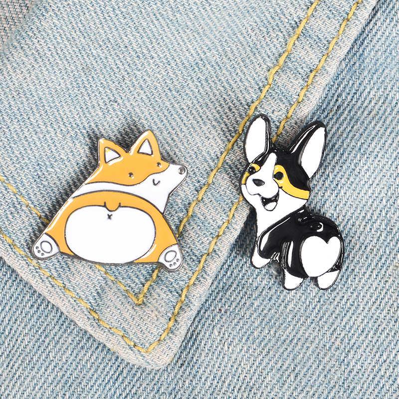 ハートバット動物ピンかわいい漫画の犬猫ブローチコーギー恋人エナメルピン素敵なラペルピンバッジギフトのための犬ママジュエリー