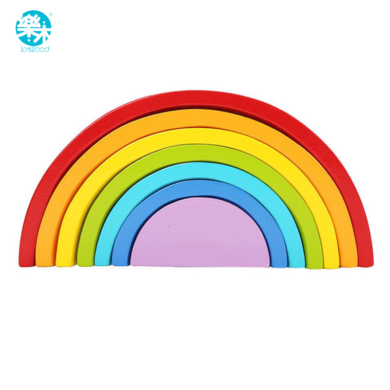 Wooden block rainbow kids children building blocks wooden toys  baby early learning montessori  educational new baby toys creative wooden educational cartoon stacking block toy rainbow tower children gift baby kid toys