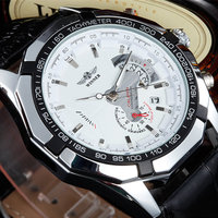2016 WINNER New Male Fashion Skeleton Military Clock Leather Men Casual Automatic Mechanical Self Wind Luxury