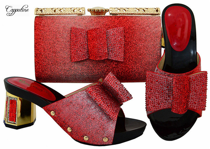 Beautiful slip on shoes with handbag set nice matching for party dress BL004 in red ,multi color for sale