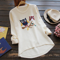 9573 new antumn winter women sweater long sleeved owl jumper cartoon round neck knitted clothes pullover sweaters for female