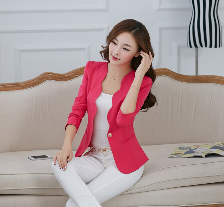 2014 autumn cueca casual blusas femininas jackets women slim short design suit office blazer frozen clothing - Fashion Store1008 store