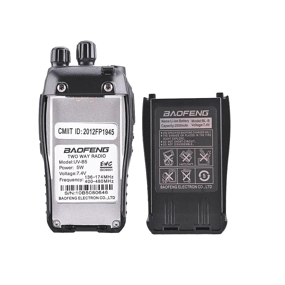 2 pièces Baofeng UV-B5 talkie-walkie 99 canaux Radio bidirectionnelle UHF VHF longue portée portable FM HF émetteur-récepteur Radio jambon Comunicador - 5