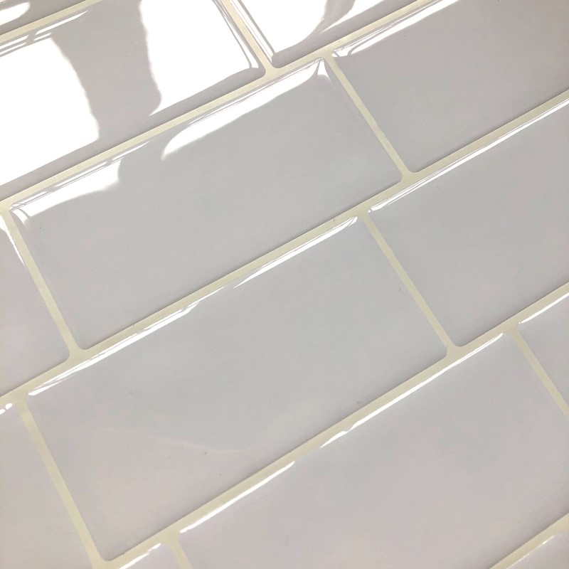 white subway tile self adhesive peel and stick backsplash brick wall sticker vinyl bathroom kitchen home decor diy