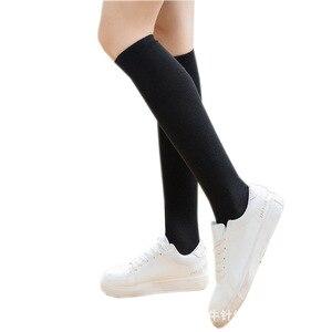 Image 1 - Модные женские носки в стиле Харадзюку, эластичные спортивные длинные носки средней длины в полоску, с узором в виде хвоста, в морском стиле, для студентов, 16 цветов