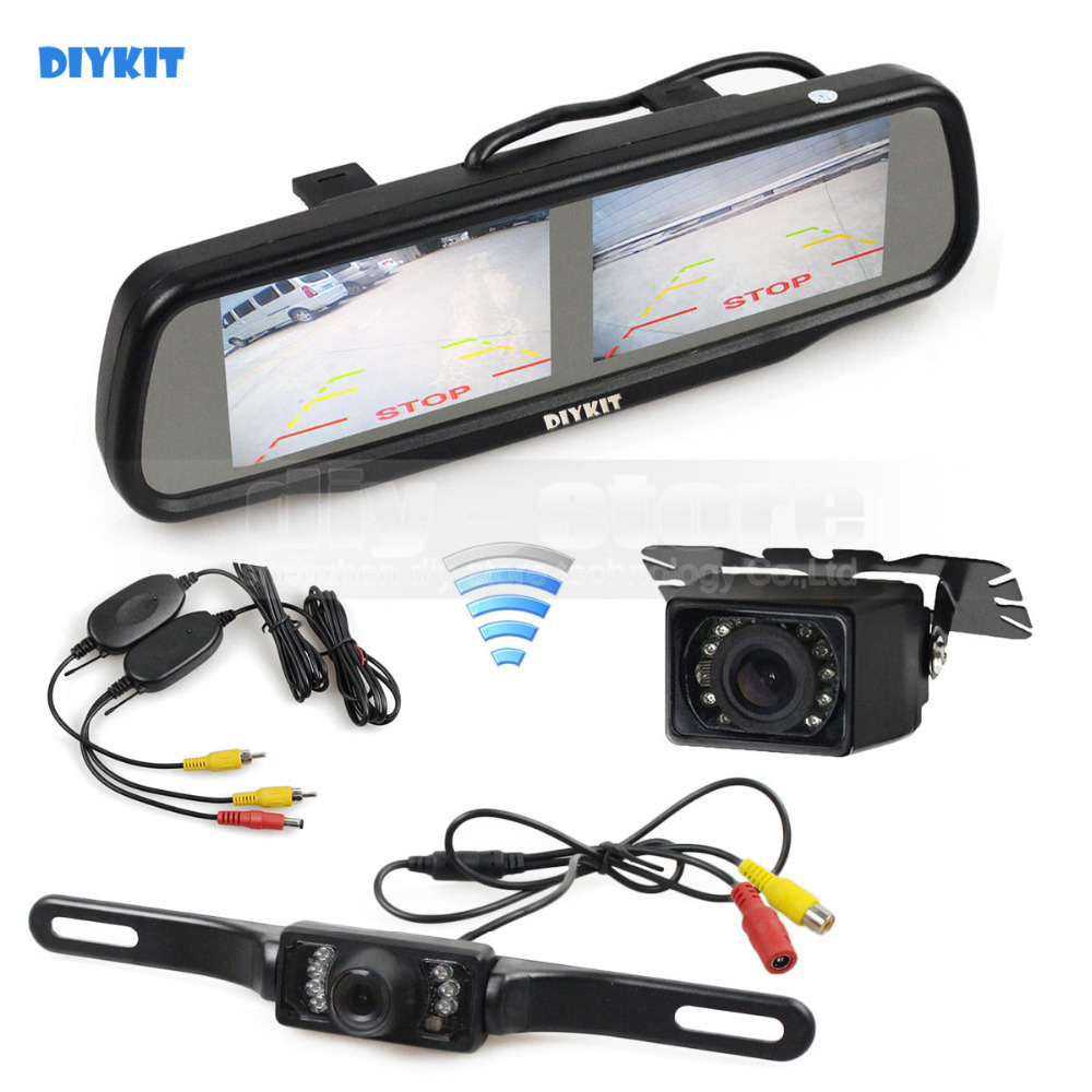 DIYKIT Wireless Dual 4.3 inch Screen Rearview Car Mirror Monitor + Waterproof Car Rear View Reverse Backup Car Camera 3in1 diy for hyundai i25 i35 i45 wireless wifi bluetooth backup rear view reverse rearview camera camara & screen monitor