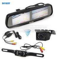 DIYKIT Wireless Dual 4.3 inch Screen Rearview Car Mirror Monitor + Waterproof Car Rear View Reverse Backup Car Camera