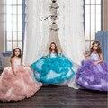 Ball Vestido Das Meninas Vestidos Pageant 2017 Sheer Tripulação Decote Cristal Pena Inchado Tule Plissado Pequena Flor Vestidos Das Meninas
